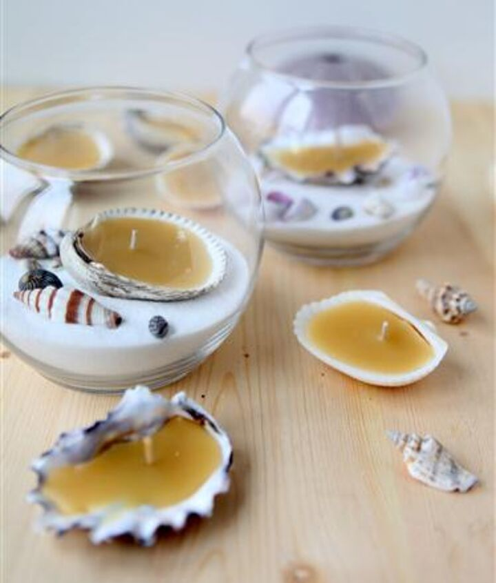 seashell beeswax tea lights, crafts