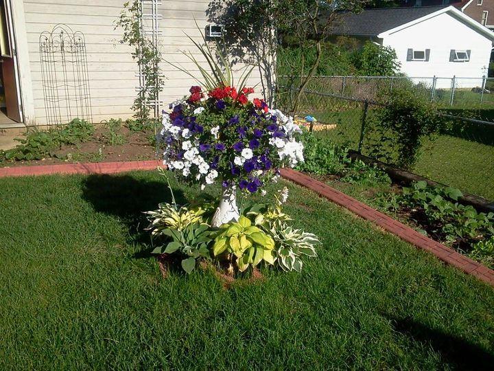 I had a damaged old concrete birdbath.  I placed it in the center of my backyard and made a planter out of it and placed different varieties of hosta around the base.