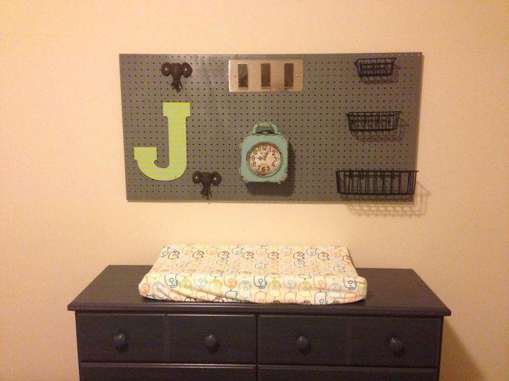 pegboard for baby boy nursery, bedroom ideas, crafts, repurposing upcycling, storage ideas