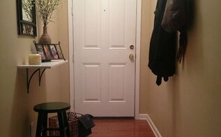 small and narrow entryway update, foyer, home decor, Welcome to my Entryway a mix of warmth and functionality The entryway was inexpensively put together through DIY projects thrift shopping and clearance shelves I love how it turned out