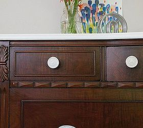 A Dark Wood Dresser With A White Top, Painted Furniture, Woodworking  Projects, Contrasting