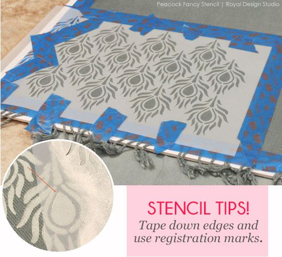 Stenciled fabric is unique and adds personality http://www.royaldesignstudio.com/blogs/stencil-ideas/10301865-a-pretty-handy-girl-stencils-stylish-scarves-for-holiday-gifts