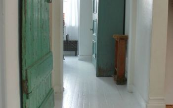 painted white wood floors, flooring, painting