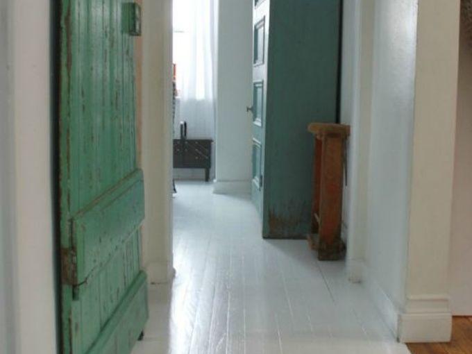 painted white wood floors, flooring, painting