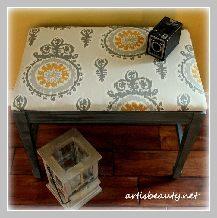 Cute little bench made from an old end table ~after~