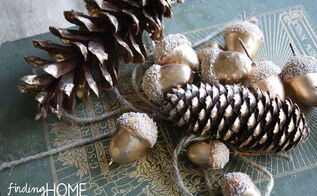 gold painted pine cones and acorns, seasonal holiday decor