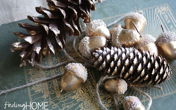 Gold Painted Pine cones and Acorns