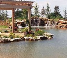 large waterfall built in an existing concrete pond, landscape, outdoor living, ponds water features, Finished project after landscape