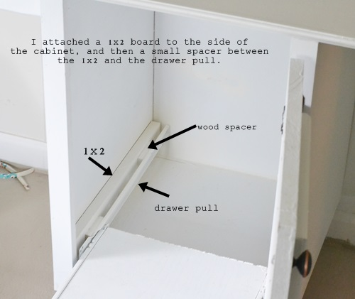 I used a basic drawer pull to create my file cabinet.