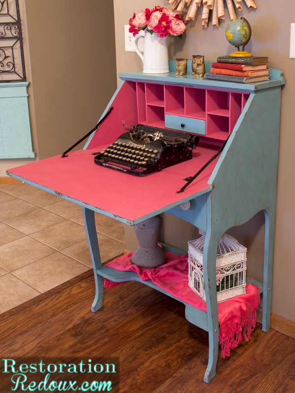 vintage secretary makeover, painted furniture