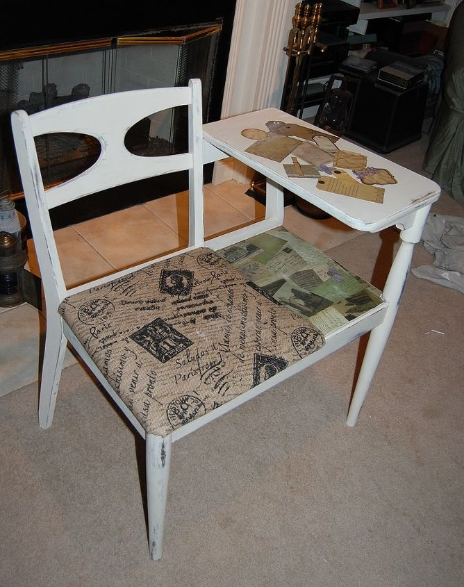 AFTER ~  Painted with ASCP 'Old White' & distressed. Sealed with Annie Sloan's clear wax.  Seat covered in French theme burlap.  Decoupaged French postcards, notes & tags...
