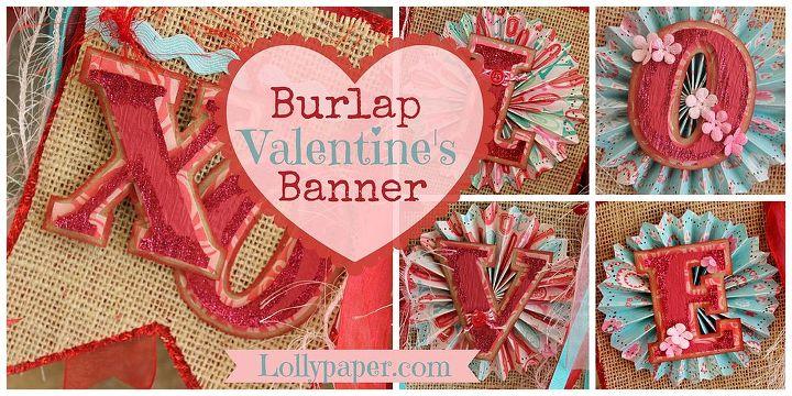 burlap valentine s day banner, crafts, seasonal holiday decor, valentines day ideas, Valentine s Day Banner Burlap Silhouette Cameo