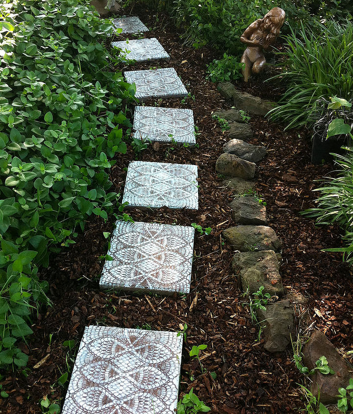 how to make lace like stepping stones, crafts, gardening, outdoor living, Such an easy project and YES you can do it Ordinary stepping stones turned into something beautiful will make you WANT to get out there and pull the weeds just to see the results