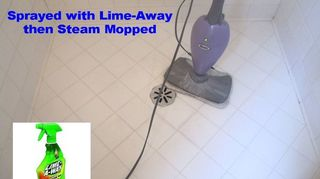 q bathroom deep cleaning time professional cleaners vs homeowners, bathroom ideas, cleaning tips, In this Round I sprayed the tile with Lime Away and Steam Mopped the heck out of it Some improvement was made less embedded junk in the tile pores but we re not done yet