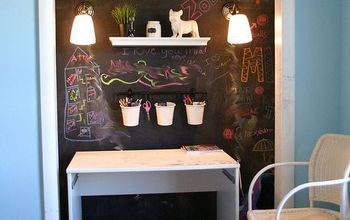 simple storage and lighting ideas for a pre teen cloffice, chalk paint, chalkboard paint, home decor, painting, shelving ideas, storage ideas, Some wall mounted plug in lamps were added The cords will be hidden with cord covers and painted over with chalkboard paint All that is left is the desktop