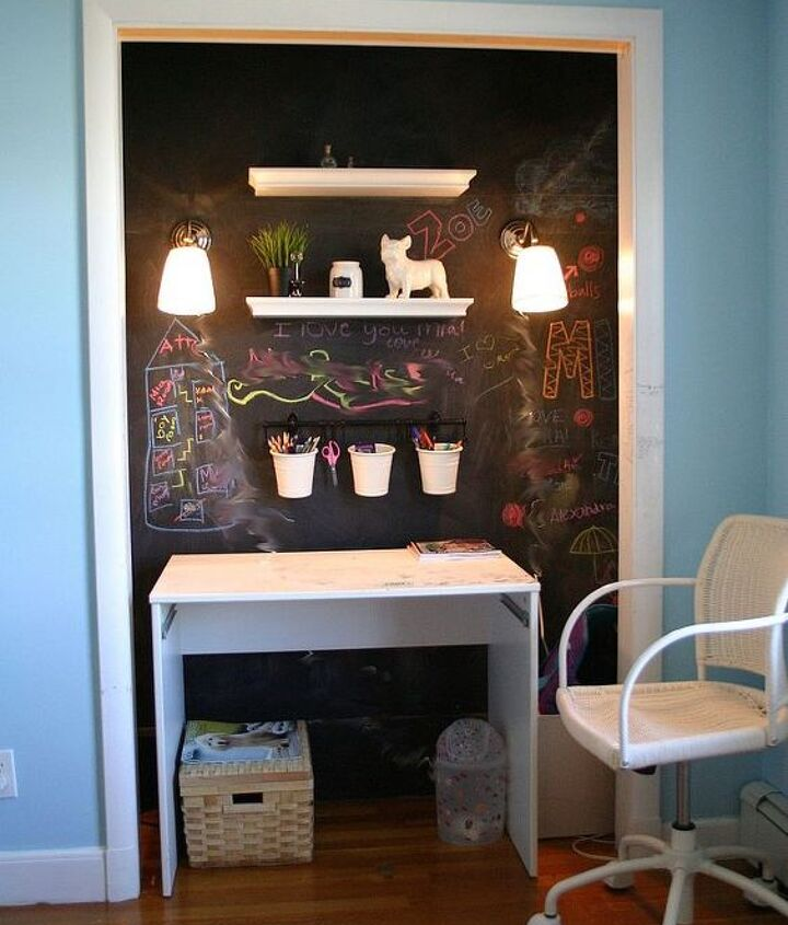 Some wall mounted plug in lamps were added. The cords will be hidden with cord covers and painted over with chalkboard paint. All that is left is the desktop!