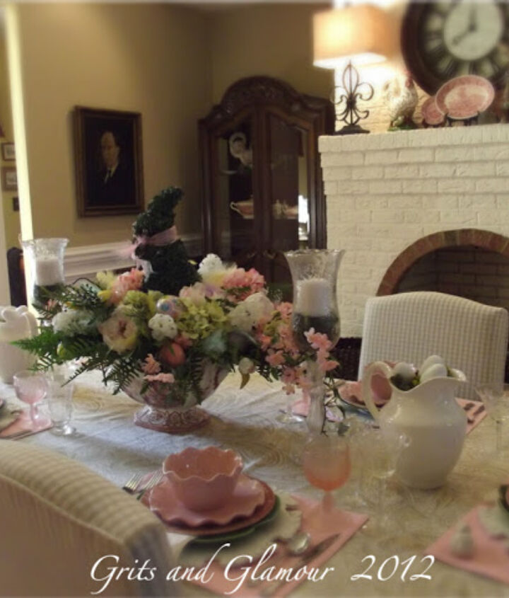 my easter table in paisley and pink, easter decorations, seasonal holiday d cor