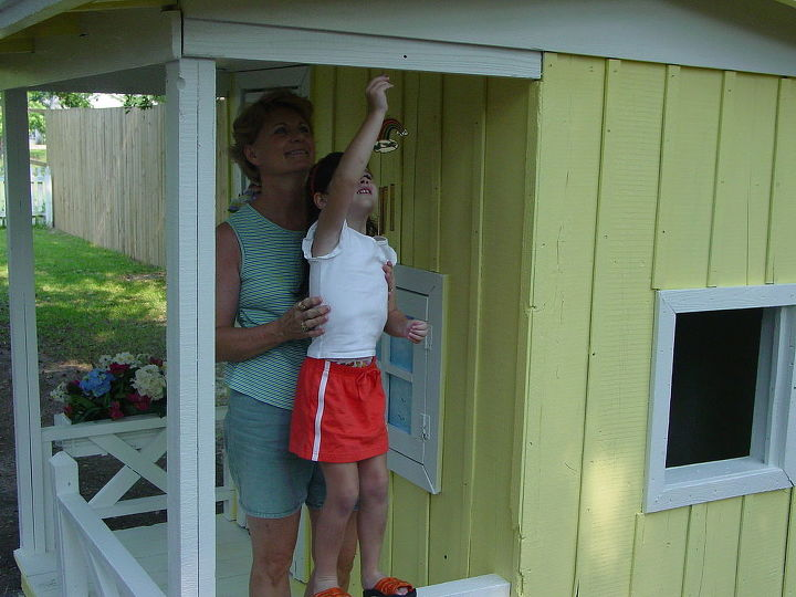 my granddaughter s playhouse, diy, how to, fire pit, repurposing upcycling, and I really helped her a lot