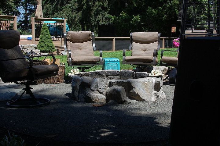 stone fire pits by ross nw watergardens, concrete masonry, curb appeal, landscape, outdoor living, Rustic basalt fire pit
