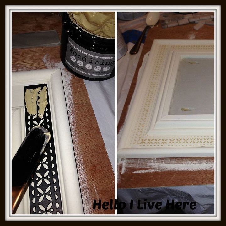 Adding wood icing to frame.