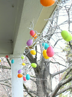 Add some colored mini lights to a stinger of plastic eggs and you've got a one of a kind decoration. I recommend lights from Christmas Lights Etc as they will last you for years and years.