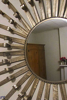 make a sunburst mirror out of masking tape, home decor, repurposing upcycling