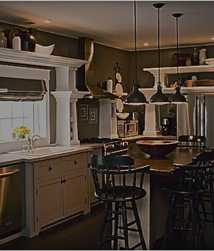 The lower cabinets were painted out the same as the beadboard, I liked them but again, they were heavy and moody.