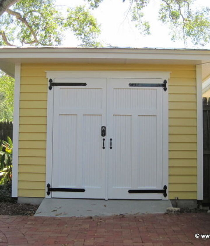 Cypress bead board door with a concrete ramp