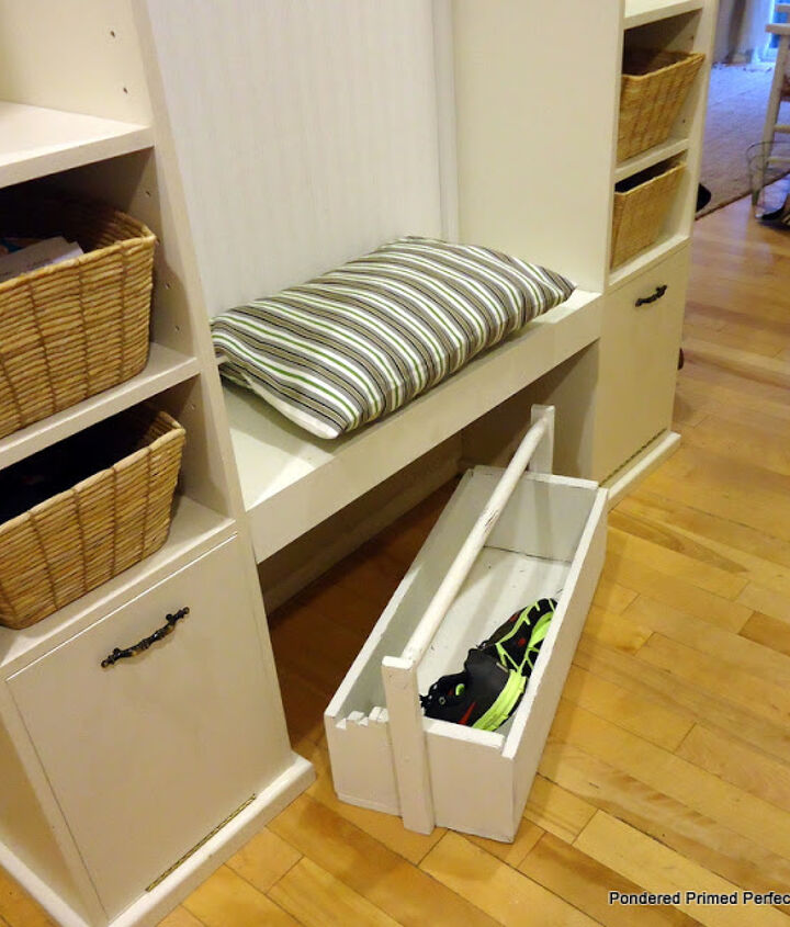 The toolbox is perfect for dropping shoes in when we are in a rush and great for toting all the shoes upstairs when they start piling up!