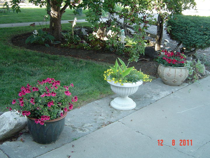 same flower bed, but potted plants along driveway