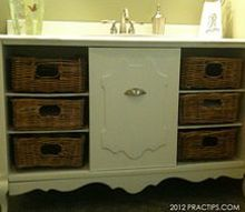 thrifty bathroom sink cabinet, bathroom ideas, kitchen cabinets, I bought an old stereo cabinet for 32 at a thrift store I took it apart cut it to 48 wide and put it back together I added basket drawers and a recycled sink We use it in the kids bathroom