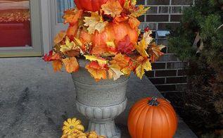 fall pumpkin front porch topiary, crafts, seasonal holiday decor
