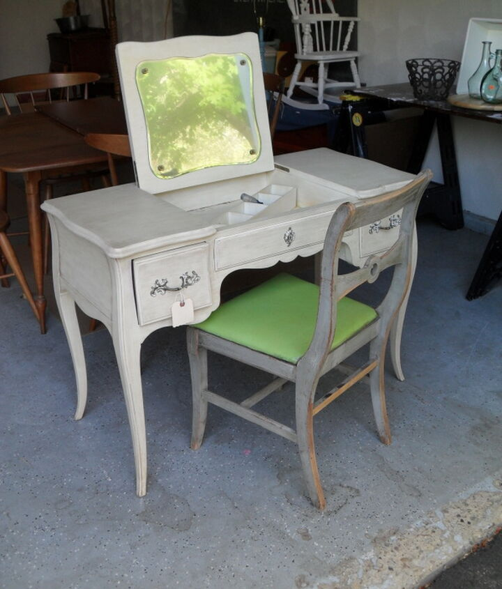 An estate sale vanity and a consignment shop chair...