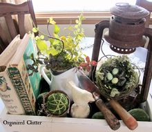 how i create a vintage spring vignette in a wooden box, home decor, repurposing upcycling, seasonal holiday decor, Give a container vignette a try
