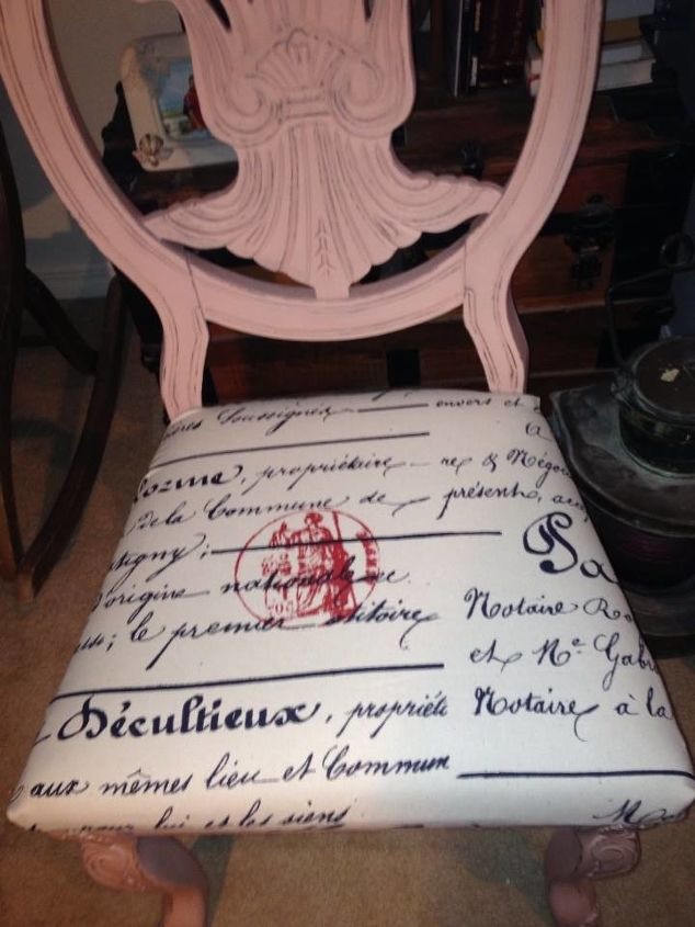 vintage pink french postcard themed chair, painted furniture, reupholster