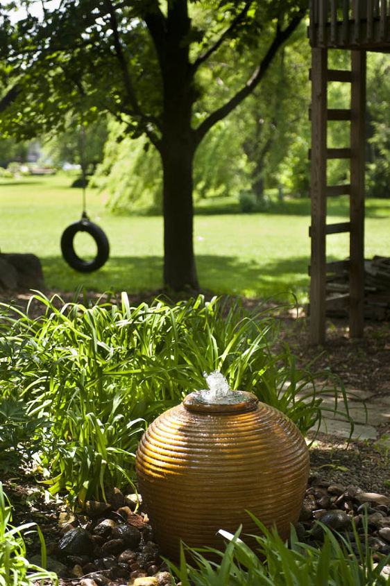 waterfall and urn, gardening, outdoor living, ponds water features, repurposing upcycling, A bubbling urn welcomes you to the backyard of this rural home