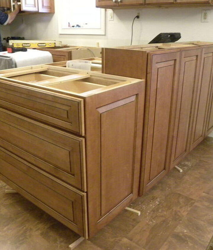 Outside of peninsula. Taller cabinets for bar seating and a 3-drawer base at the end.