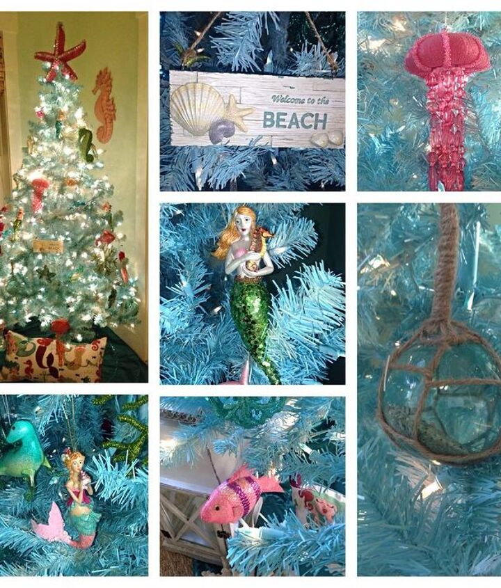 Blue Christmas tree with with whimsical beach ornaments.