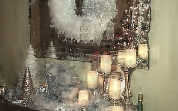 mercury glass and feathers christmas, crafts, seasonal holiday decor, wreaths, Christmas tree reflection in the mirror