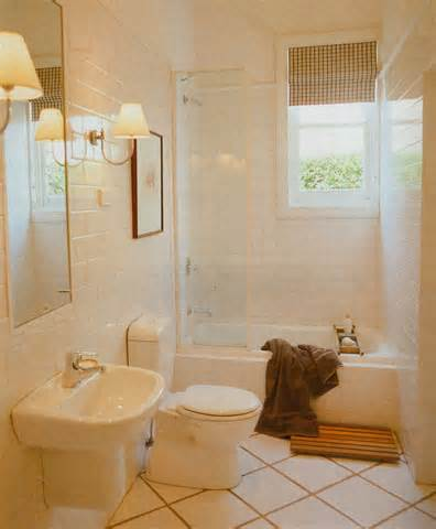 Laying square or rectangular tiles on their sides will make your small bathroom feel bigger.. tricks the eye.