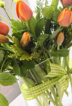 bouquets on a budget create beautiful flower arrangements for 5 and greens from, crafts, Have you ever noticed those beautiful bunches of tulips at the grocery store but sure what to do with them For 5 bring them home and add some greens from your own yard to make them really sing