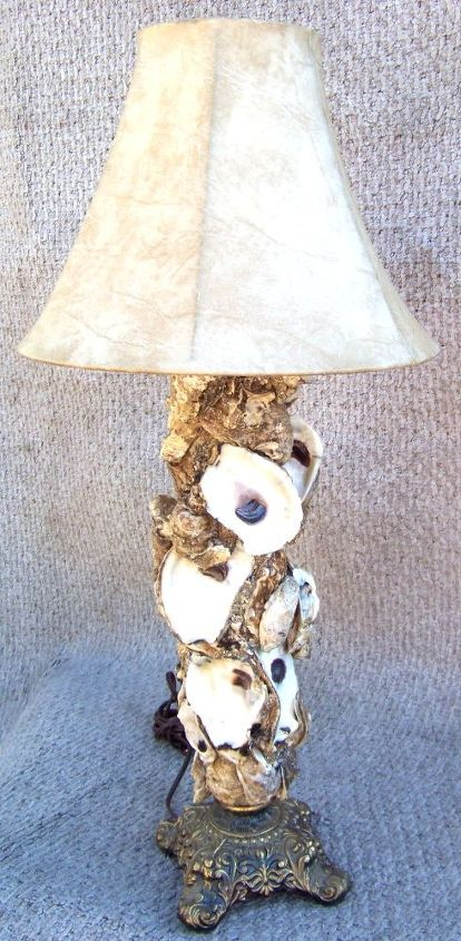 oyster shell lamp, home decor, lighting, Oyster Shell Lamp Handmade with love from Backwater Studio Waveland Mississippi