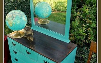 a kid ravaged dresser turned vintage school house style dresser, painted furniture, repurposing upcycling, The finished school house dresser