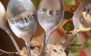 say it with silver stamped slver spoons, home decor, silver spoons that say Christmas