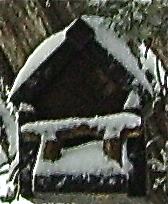 Our birdhouse in the snow.