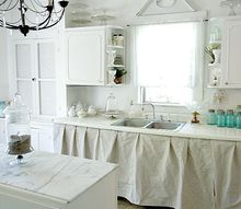 budget friendly kitchen makeover, home decor, kitchen design, kitchen island, The cabinets are a little wonky as they tend to be in old farmhouses so we covered it with a painters drop cloth