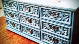 turquoise dresser, painted furniture, repurposing upcycling