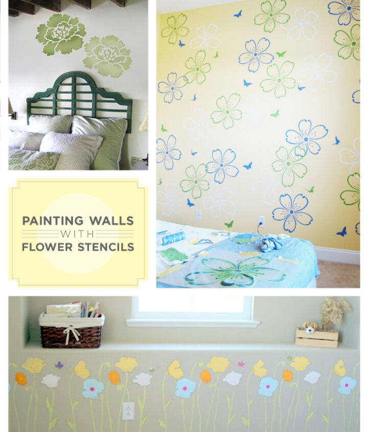 Paint your walls with flower stencils