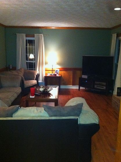 you may remember my den from the hardwood flooring project a couple months ago, fireplaces mantels, hardwood floors, home decor, living room ideas, painting