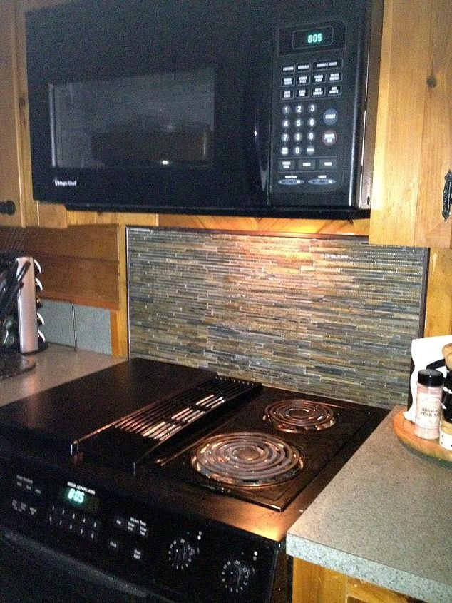 just changed the back splash and flooring in my 50 s knotty pine kitchen, home decor, kitchen backsplash, kitchen design, tile flooring, tiling, slate tile back splash